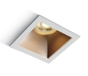 Inbouw spot behuizing vierkant - IP20 GU10 - Wit - Reflector Messing
