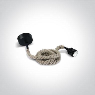 Touw hanglamp met fitting E27, zwart, grof getwist