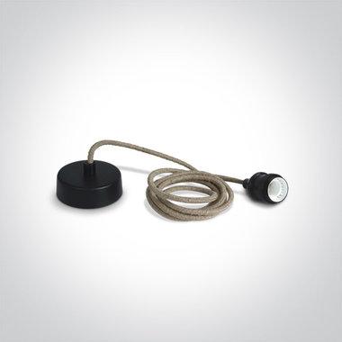 Touw hanglamp met fitting E27, zwart, fijn touw