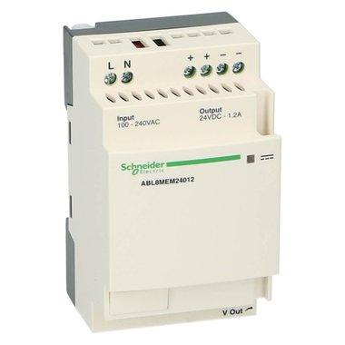 Dinrail voeding 24VDC uit 100-240VAC in 1.2A 30Watt