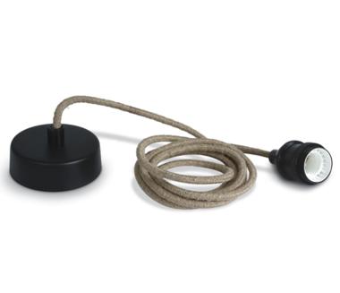 Touw hanglamp met fitting E27, zwart