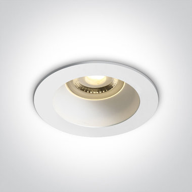 Inbouwspot behuizing rond - IP20  50W  GU10 - Wit - Reflector Wit