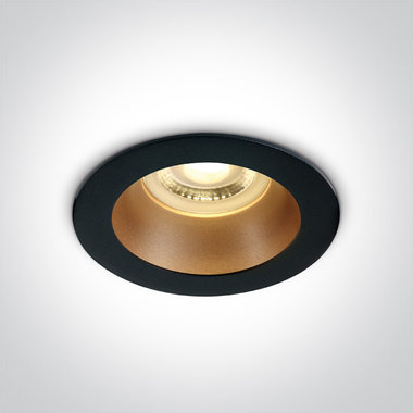Inbouwspot behuizing rond - IP20  50W  GU10 - Zwart - Reflector Messing