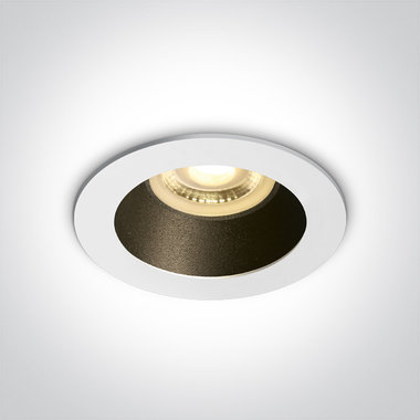 Inbouwspot behuizing rond - IP20  50W  GU10 - Wit - Reflector Zwart