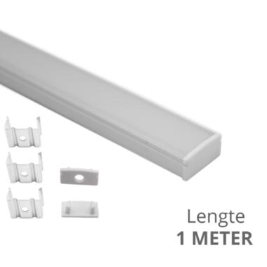 Aluminium ledstrip profiel opbouw 1M - 8 mm laag - compleet met afdekkap