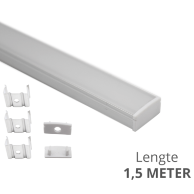 Aluminium ledstrip profiel opbouw 1,5M - 8 mm laag model - compleet met afdekkap