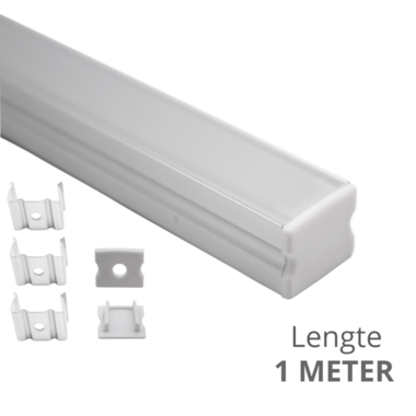 Led strip profiel opbouw Hoog model - compleet met afdekkap 1 meter - 15 mm hoog