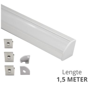 Ledstrip profiel hoek Slim line - compleet inclusief afdekkap 1,5 meter