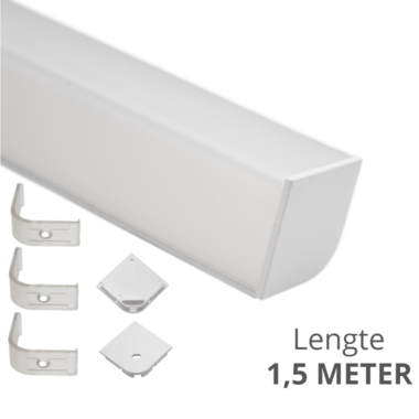 Ledstrip profiel hoek Breed recht model compleet met afdekkap 1,5 meter