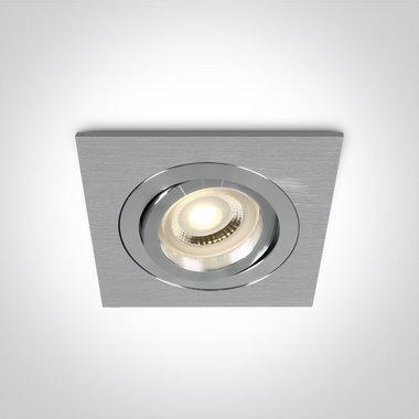 Instelbare inbouwspot vierkant - IP20  50W  GU10 - Aluminium