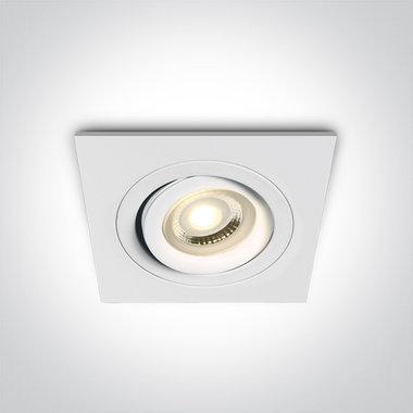 Instelbare inbouwspot vierkant - IP20  50W  GU10 - Wit