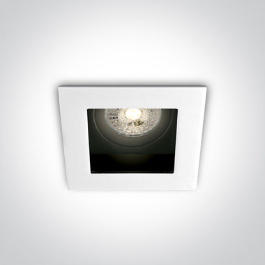 Instelbare klassieke inbouwspot vierkant - IP20  50W  GU10 - Wit