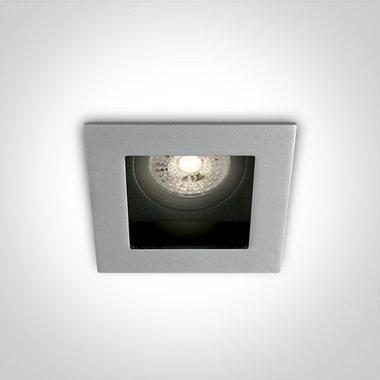 Instelbare klassieke inbouwspot vierkant - IP20  50W  GU10 - Grijs