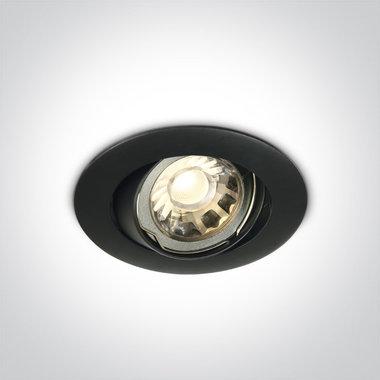 Instelbare klassieke inbouwspot rond - IP20  50W  GU10 - Zwart