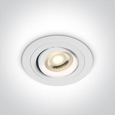 Instelbare Dual Ring inbouwspot rond - IP20  50W  GU10 - Wit