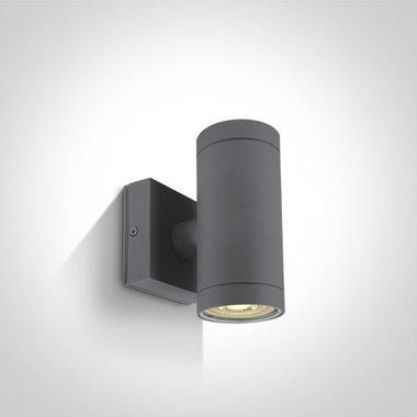 Wand spot cilinder - IP54 - 2x35W - GU10 - Antraciet