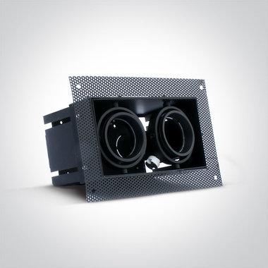 Trimless spot - Aluminium - GU5.3 - GU10 - IP20 - dubbel - Zwart