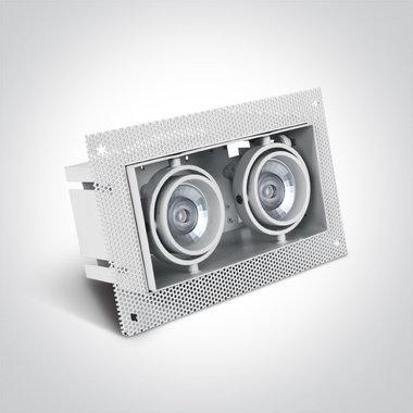Trimless spot - Aluminium - GU10 - IP20 - dubbel - Wit