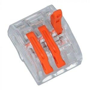 3 draads verbindingsklem soepel-massief met hendel  - 40 stuks