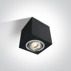 Plafond spot opbouw vierkant - IP20 10W GU10 - Zwart