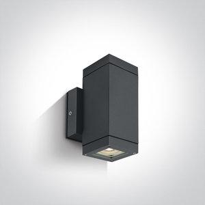 Wand spot vierkant - IP54 - 2x35 W - GU10 - Antraciet