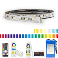 Led strip op batterij RGBWW Premium complete set 1 meter